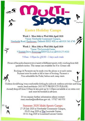 Multi Sports Camps Easter 2020